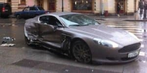 Aston Martin DBS crashed in Russia by 15-year old driver