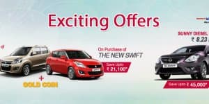Car Offers & Discounts in September 2015 – Nissan Sunny & Maruti cars