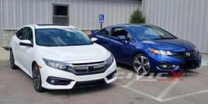 New Honda Civic sedan spotted together with outgoing coupe