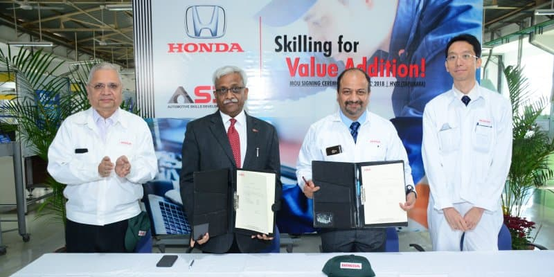 Honda Cars India Signs MoU with ASDC